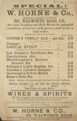 Advert for W Horne & Co, wine & spirit merchants